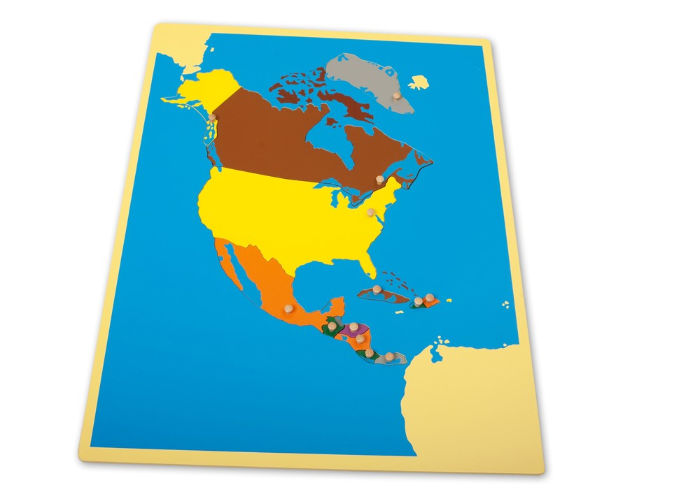 Montessori world continents puzzle map montessori north america puzzle map gumiabroncs Images
