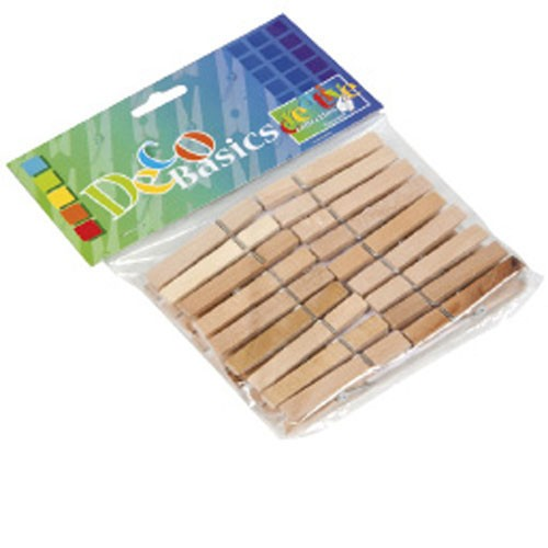 50 small wooden clothes pegs