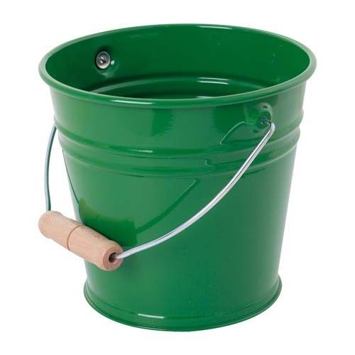 Dark Green Metal Bucket with Wooden Handle
