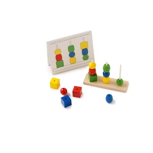 Coloured Shapes on 3 Dowels with Workcards: Build the tower