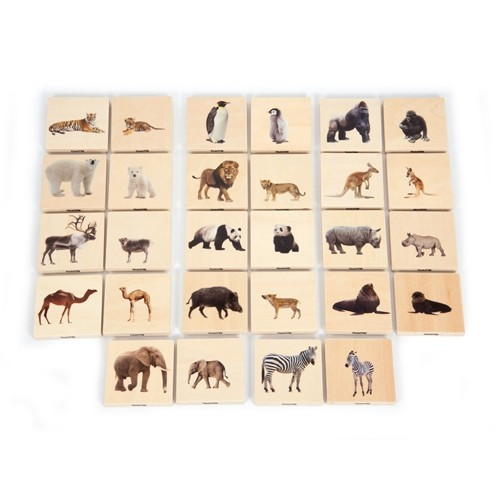 Wild Animals Wooden Blocks: Adults and Young