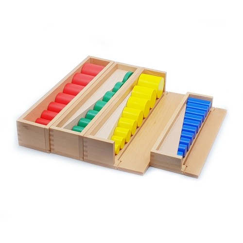 Montessori Knobless Cylinders in Configured Boxes