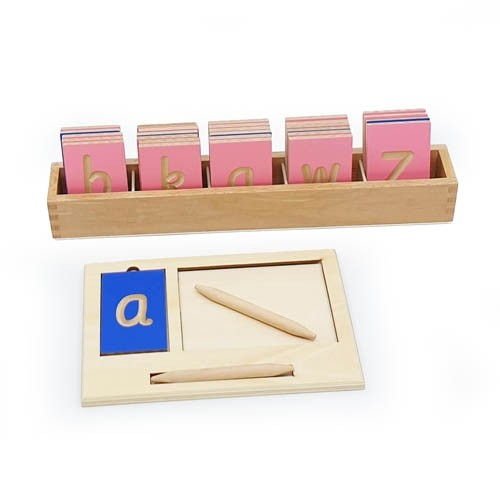 Montessori Mini Grooved Letter Tiles: Sassoon Lower Case with Tray and Stylus