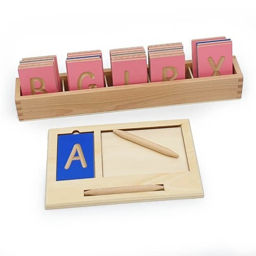 Montessori Mini Grooved Letter Tiles: Sassoon Upper Case with Stylus