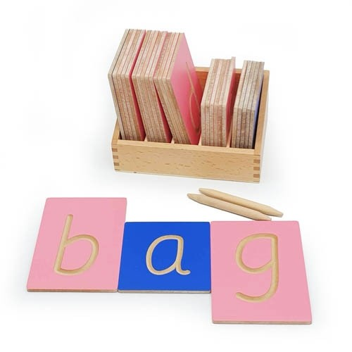 Montessori Large Grooved Letter Tiles: Sassoon Lower Case with Stylus