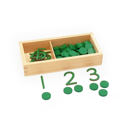Montessori Cut-out Numerals and Counters - Green