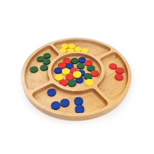 Montessori Round 4 Compartment Sorting Tray with Counters