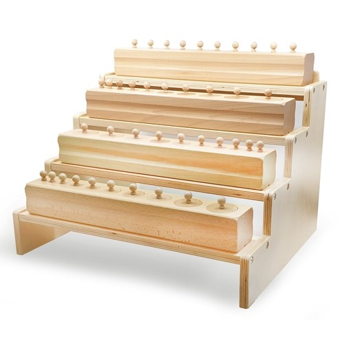 Montessori Knobbed and Knobless Cylinders Shelving Unit