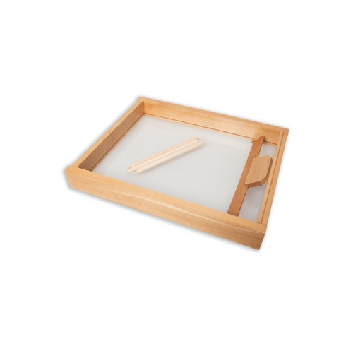 Montessori Sand Tray with Clear Base and Smoothing Tool