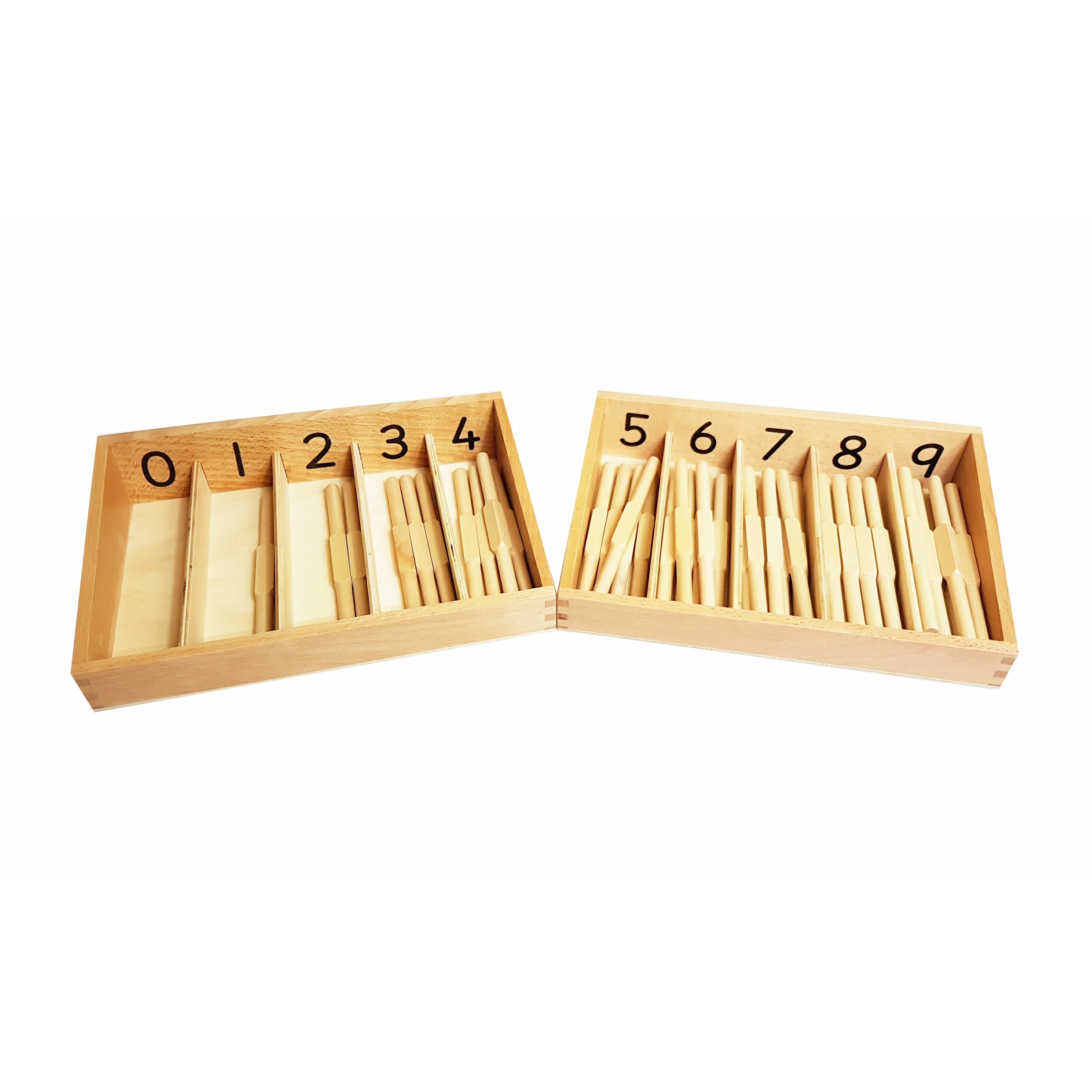 Montessori Spindle Boxes 0-4 and 5-9