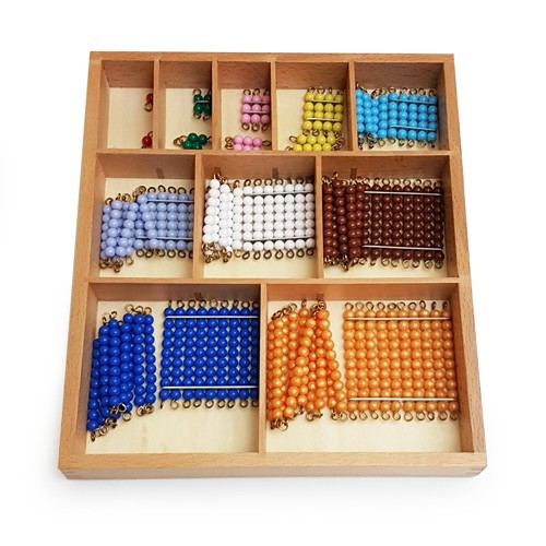 Short Bead Chains and Squares in a Wooden Box (premium beads)