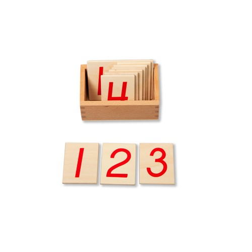 Montessori Red Numbers Cards 1-10 and box