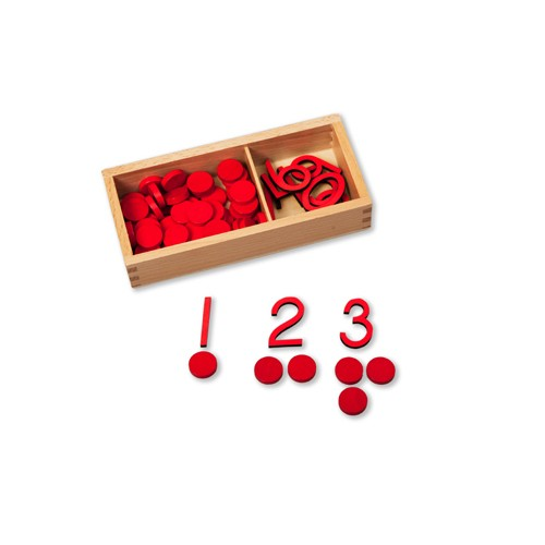 Montessori Small Cut-out Numerals and Counters - Red