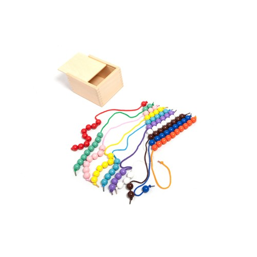 Montessori 100 Lacing Beads in a  Wooden Box