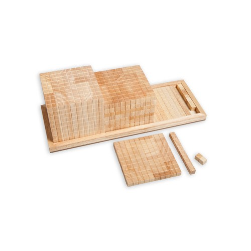 Montessori Base Ten Material on a Wooden Tray