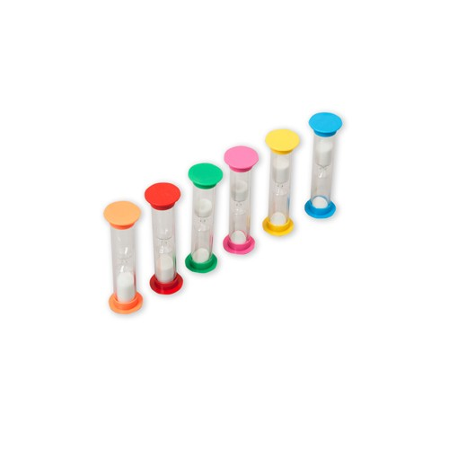 Montessori Set of 6 Sandtimers: 30 secs - 5 mins