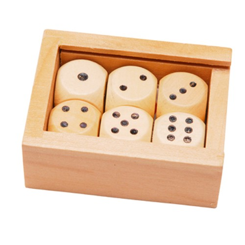 Montessori 6 wooden dice in a wooden box