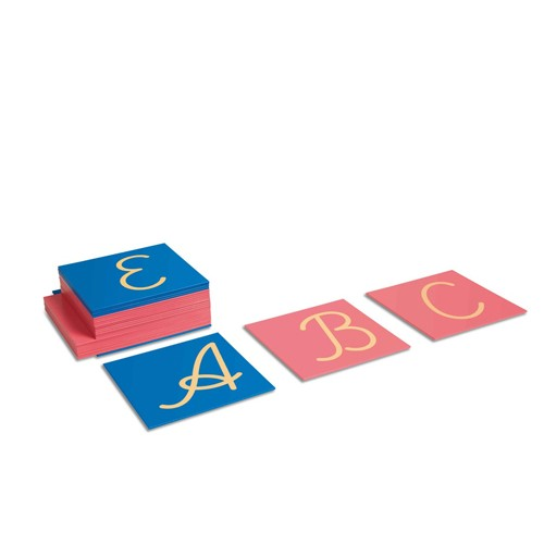 Nienhuis Montessori Sandpaper Capitals: International Cursive