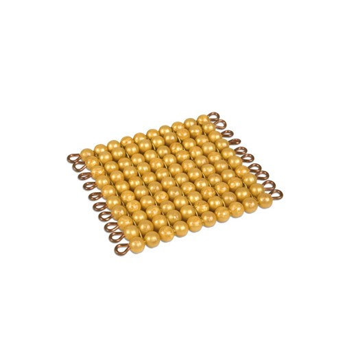 Nienhuis Montessori One Golden Bead Square Of 100, Ind.Beads