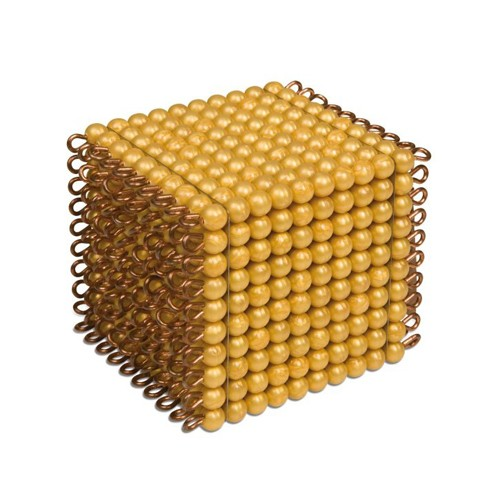 Nienhuis Montessori One Golden Bead Cube Of 1000, Ind. Beads