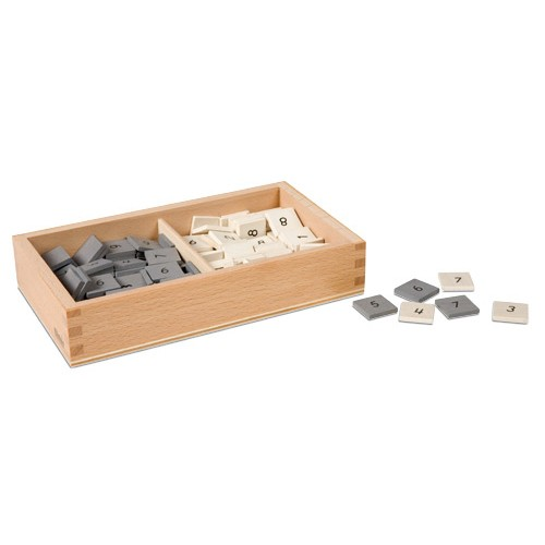 Nienhuis Montessori Box With Gray And White Number Tiles