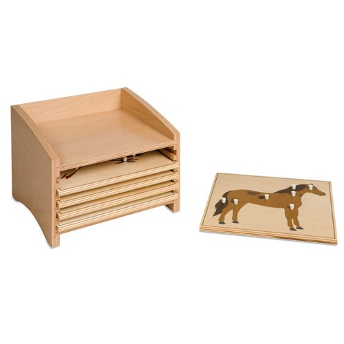 Nienhuis Montessori Cabinet For 5 Animal Puzzles