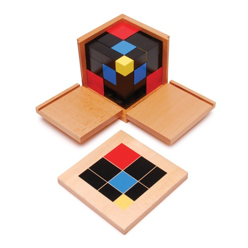 Montessori Spare for Trinomial Cube: black and blue prism 3x3x4cm