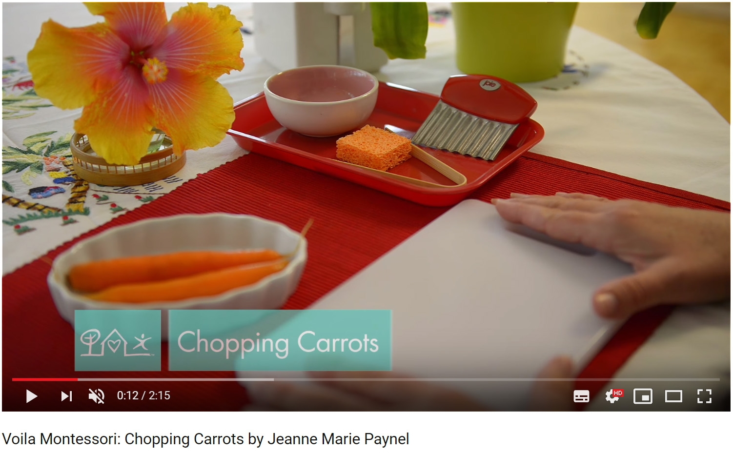 montessori crinkle chopping carrots